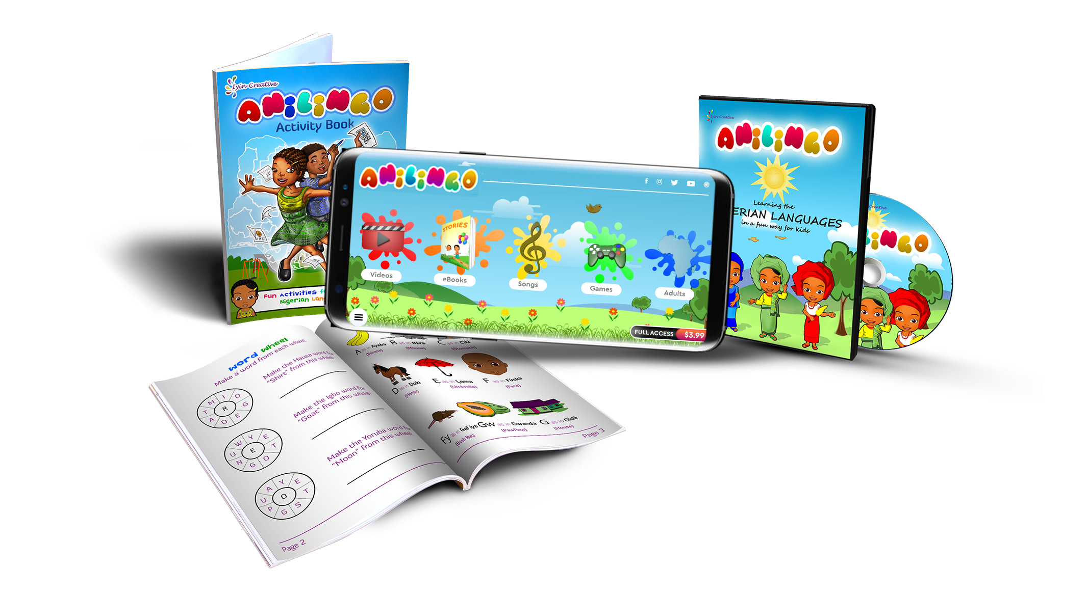 Anilingo cartoon DVD and Activity Book teaching